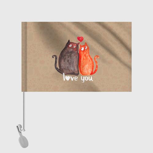 Флаг для автомобиля  Фото 02, Влюбленные котики