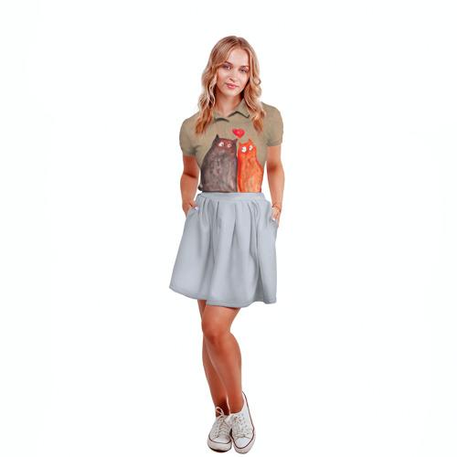 Женская рубашка поло 3D  Фото 04, Влюбленные котики