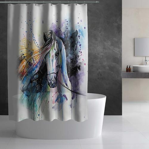 Штора 3D для ванной Лошадь. Арт 3 Фото 01