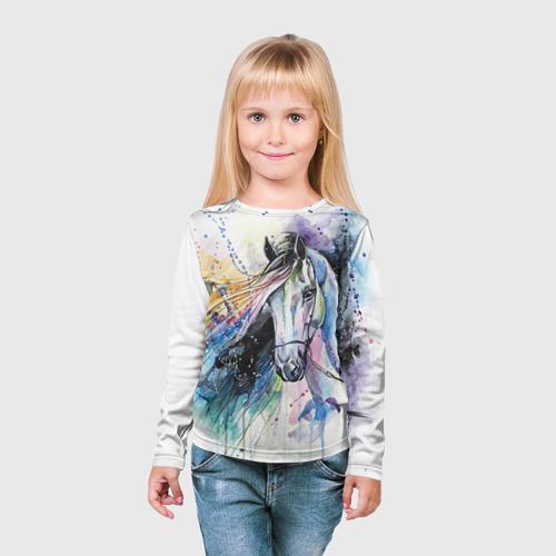 Детский лонгслив 3D Лошадь. Арт 3 Фото 01