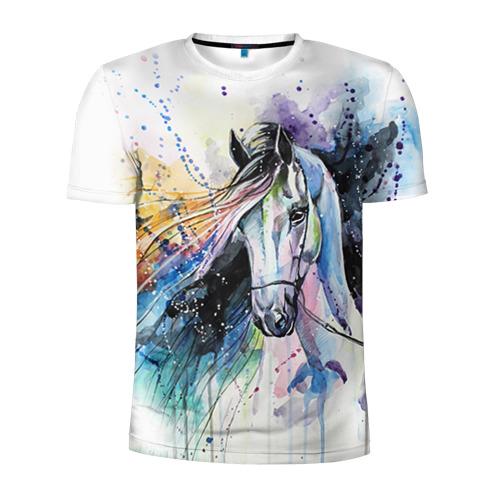 Мужская футболка 3D спортивная  Фото 01, Лошадь. Арт 3