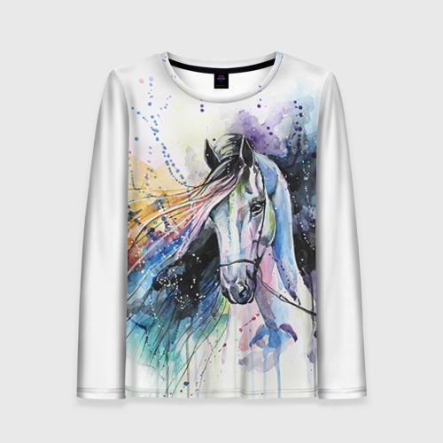 Женский лонгслив 3D Лошадь. Арт 3 Фото 01