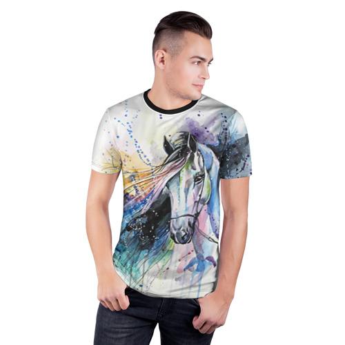 Мужская футболка 3D спортивная Лошадь. Арт 3 Фото 01