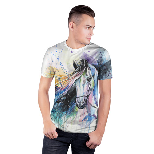 Мужская футболка 3D спортивная  Фото 03, Лошадь. Арт 3