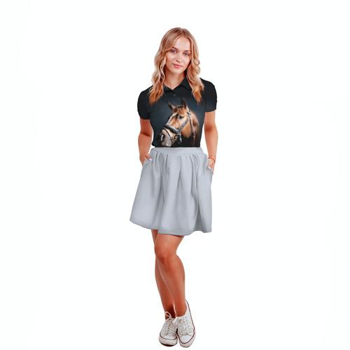 Женская рубашка поло 3D  Фото 04, Лошадь 1
