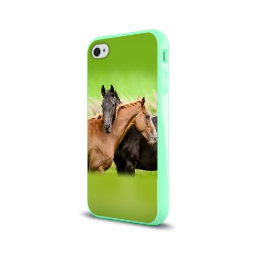 Чехол для Apple iPhone 4/4S силиконовый глянцевый Лошади 2 Фото 01