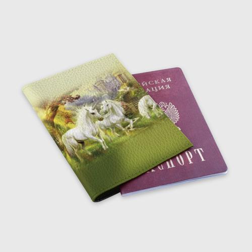 Обложка для паспорта матовая кожа  Фото 03, Единороги