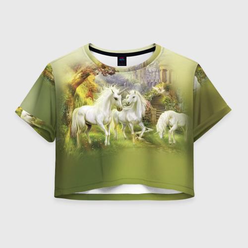 Женская футболка Crop-top 3D Единороги