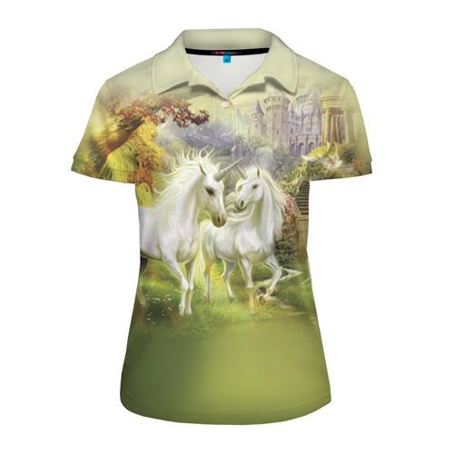 Женская рубашка поло 3D  Фото 01, Единороги