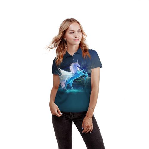 Женская рубашка поло 3D  Фото 03, Единорог