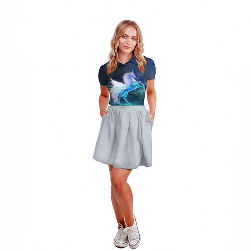 Женская рубашка поло 3D  Фото 04, Единорог