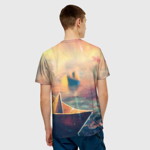 Мужская футболка 3D  Фото 02, Бумажный кораблик
