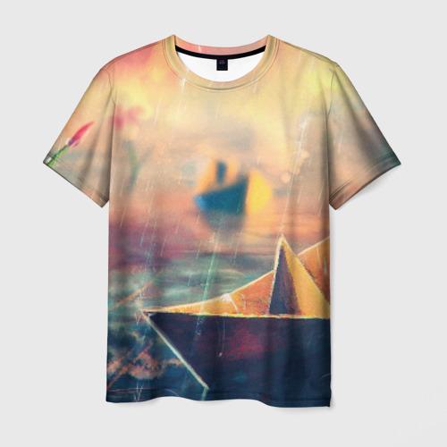 Мужская футболка 3D  Фото 03, Бумажный кораблик