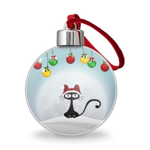 Ёлочный шар Кошка с шапкой Фото 01