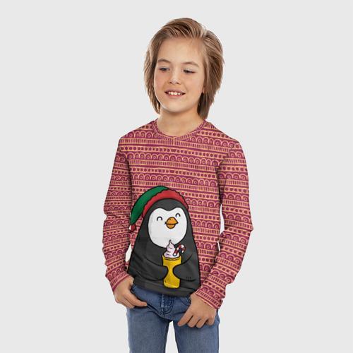 Детский лонгслив 3D Пингвиня Фото 01