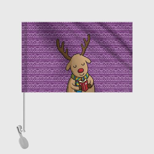 Флаг для автомобиля  Фото 02, Счастливый олень