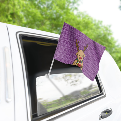 Флаг для автомобиля  Фото 03, Счастливый олень