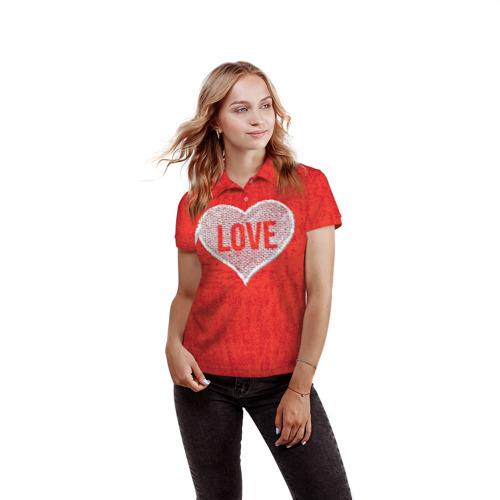 Женская рубашка поло 3D  Фото 03, Love