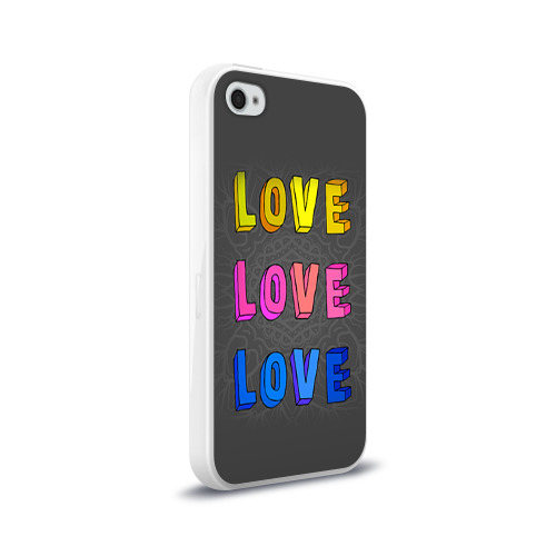 Чехол для Apple iPhone 4/4S силиконовый глянцевый  Фото 02, Love Love Love
