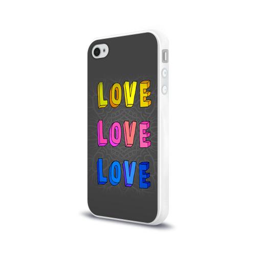 Чехол для Apple iPhone 4/4S силиконовый глянцевый  Фото 03, Love Love Love