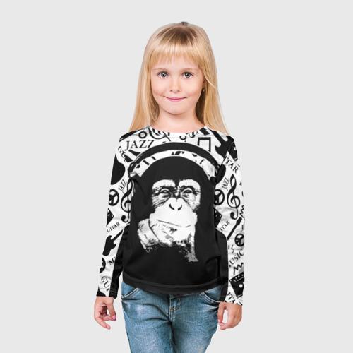 Детский лонгслив 3D  Фото 03, Шимпанзе в наушниках
