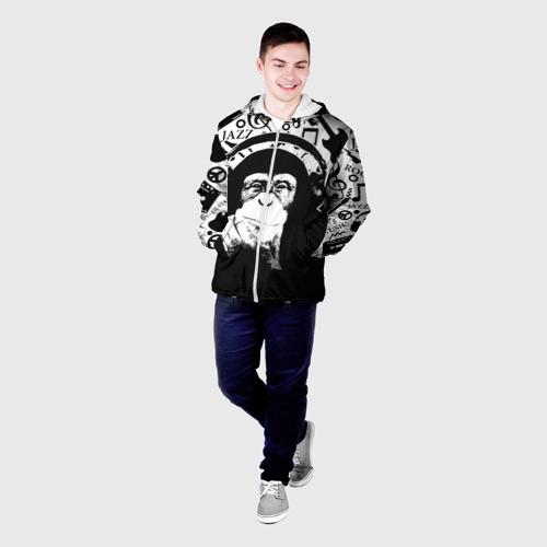 Мужская куртка 3D  Фото 03, Шимпанзе в наушниках