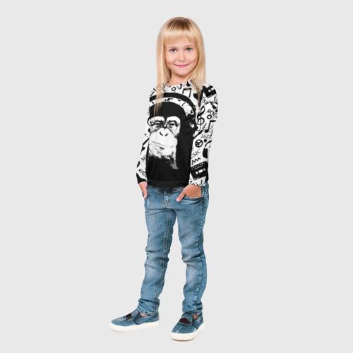 Детский лонгслив 3D  Фото 04, Шимпанзе в наушниках