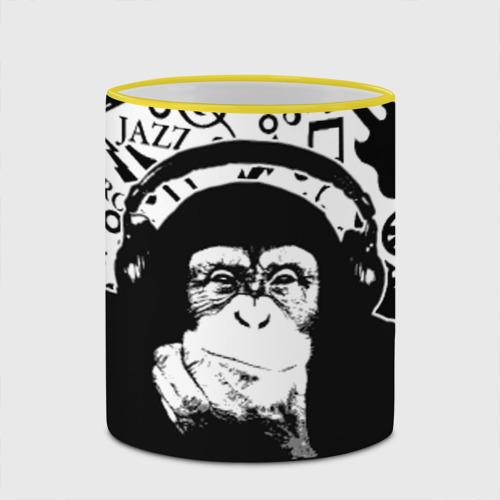 Кружка с полной запечаткой  Фото 03, Шимпанзе в наушниках