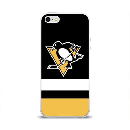 Чехол для Apple iPhone 5/5S силиконовый глянцевый  Фото 01, Pittsburgh Penguins