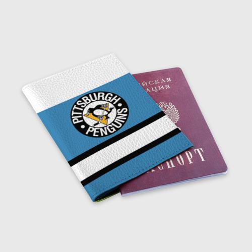 Обложка для паспорта матовая кожа Pittsburgh Penguins blue Фото 01