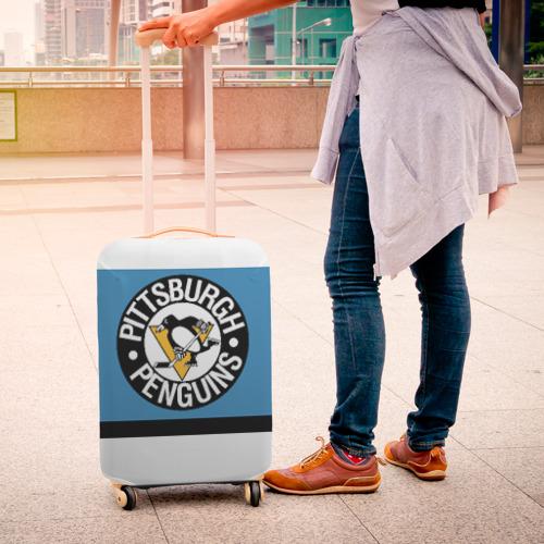 Чехол для чемодана 3D  Фото 04, Pittsburgh Penguins blue