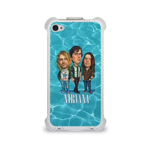 Чехол для Apple iPhone 4/4S flip  Фото 01, Шаржи группа Nirvana