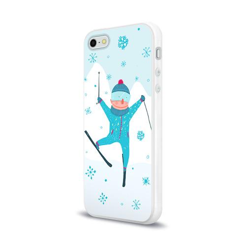 Чехол для Apple iPhone 5/5S силиконовый глянцевый  Фото 03, Лыжник