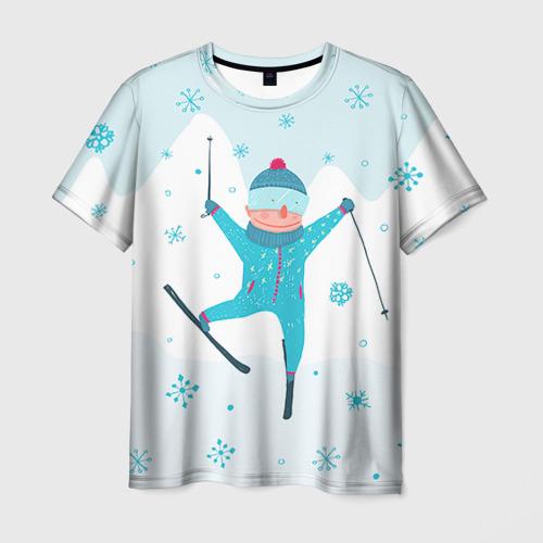 Мужская футболка 3D  Фото 03, Лыжник