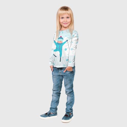 Детский лонгслив 3D  Фото 04, Лыжник