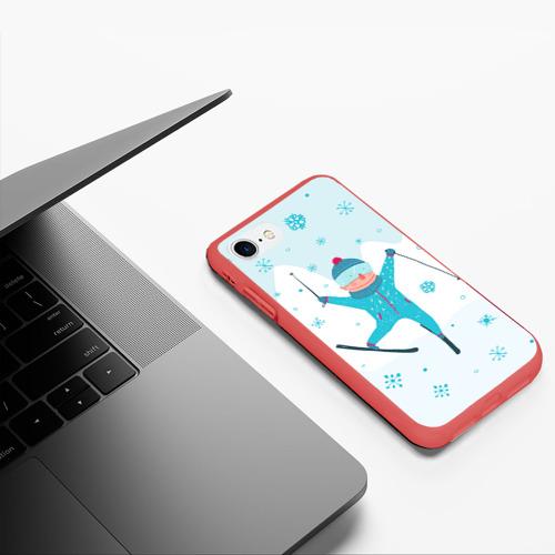 Чехол для iPhone 7/8 матовый Лыжник Фото 01