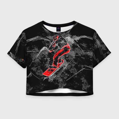 Женская футболка Crop-top 3D Сноубордист