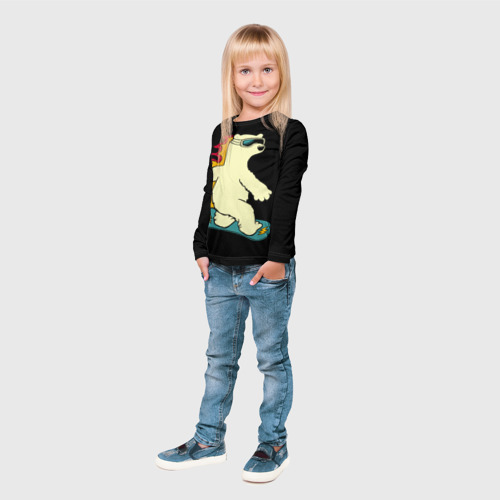 Детский лонгслив 3D  Фото 04, Мишка на борде
