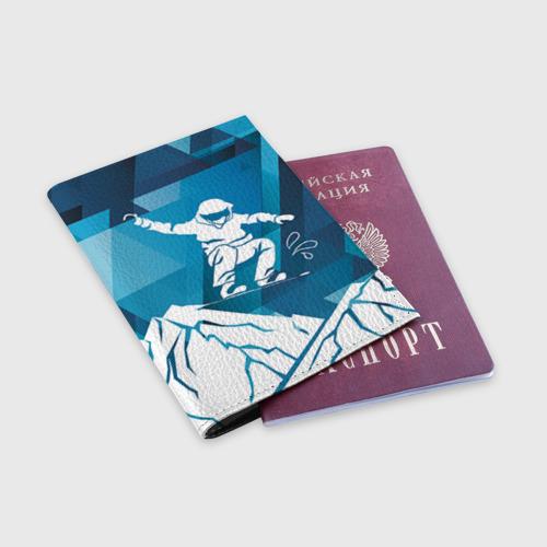 Обложка для паспорта матовая кожа  Фото 03, Горы и сноубордист