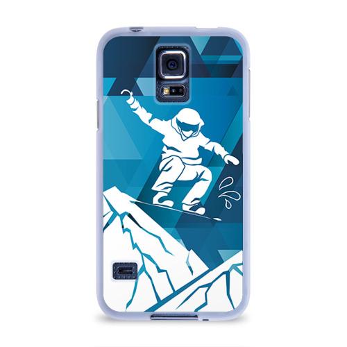 Чехол для Samsung Galaxy S5 силиконовый  Фото 01, Горы и сноубордист