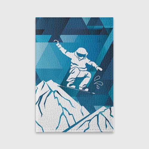 Обложка для паспорта матовая кожа  Фото 01, Горы и сноубордист