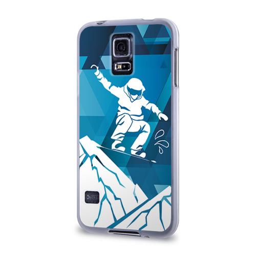 Чехол для Samsung Galaxy S5 силиконовый  Фото 03, Горы и сноубордист