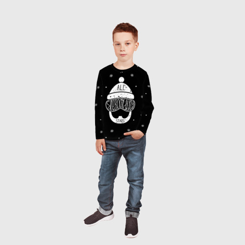 Детский лонгслив 3D  Фото 05, Бородатый сноубордист