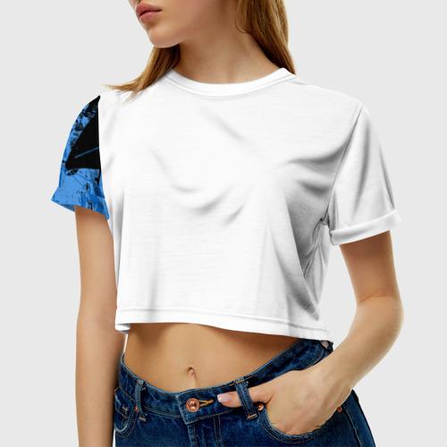 Женская футболка 3D укороченная Путин главнокомандующий