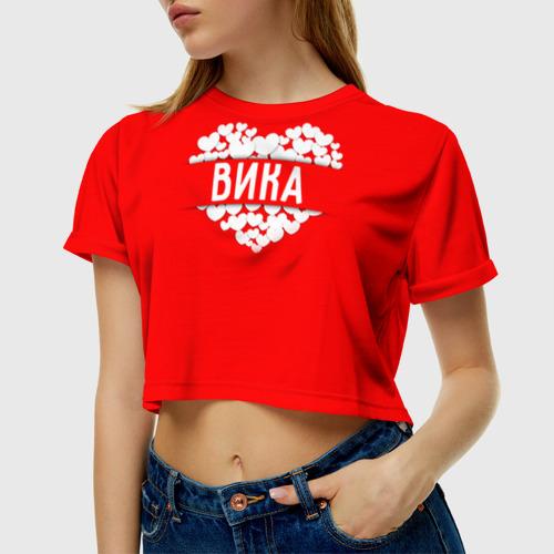 Женская футболка 3D укороченная Вика