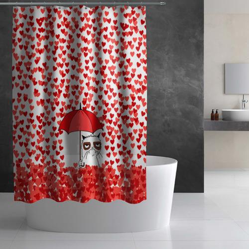 Штора 3D для ванной Сердцепад Фото 01