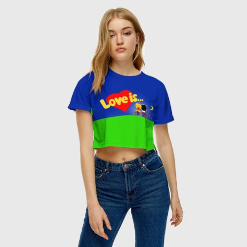 Женская футболка 3D укороченная  Фото 04, love is