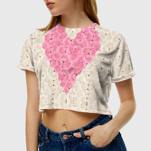 Женская футболка 3D укороченная Сердце из роз