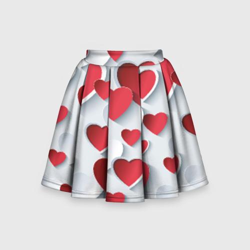 Детская юбка-солнце 3D Сердца