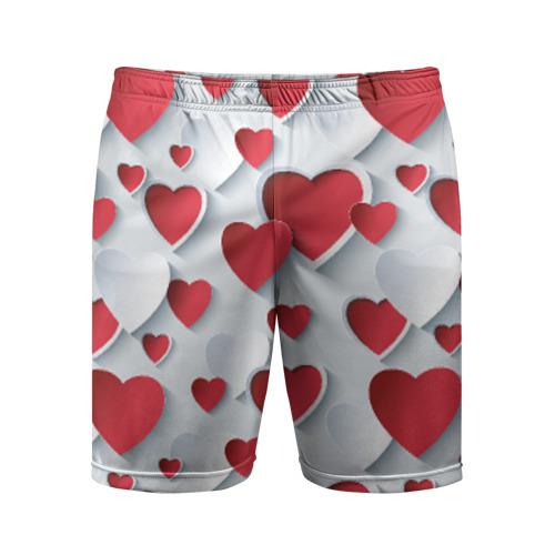 Мужские шорты 3D спортивные Сердца